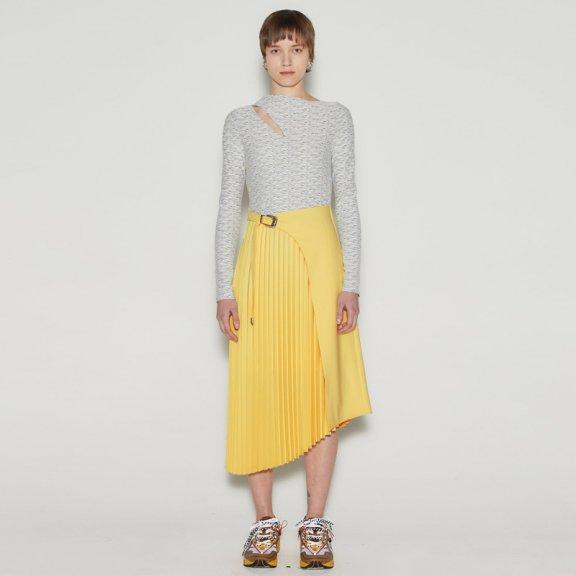 正品代购2021春款andersson bell韩国设计师品牌拼色褶皱连衣裙