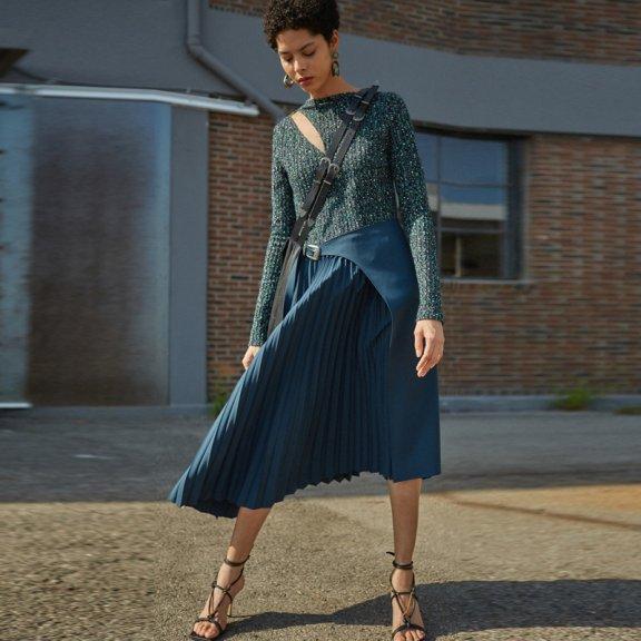 2021春款韩国设计师品牌andersson bell弹力针织上衣褶皱连衣裙