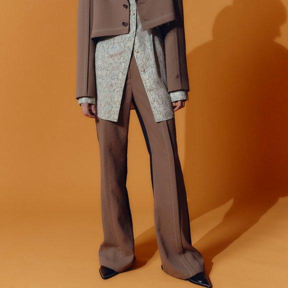 2021春款韩国设计师品牌andersson bell前后拼色时尚休闲喇叭裤
