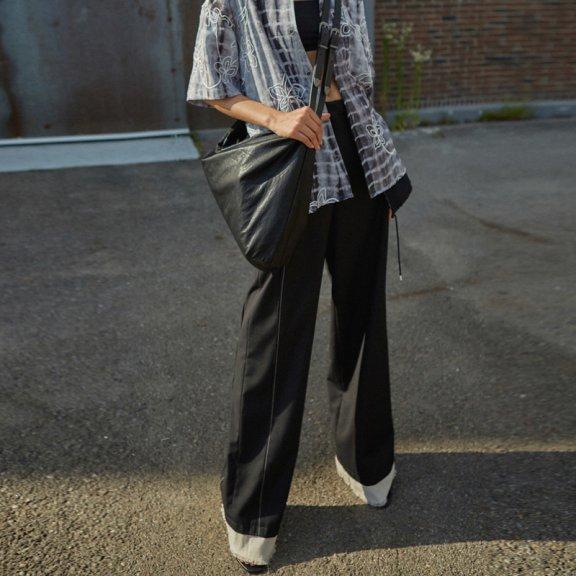 anderssonbell韩国设计师品牌2021春款高腰直筒拼接西裤阔腿裤
