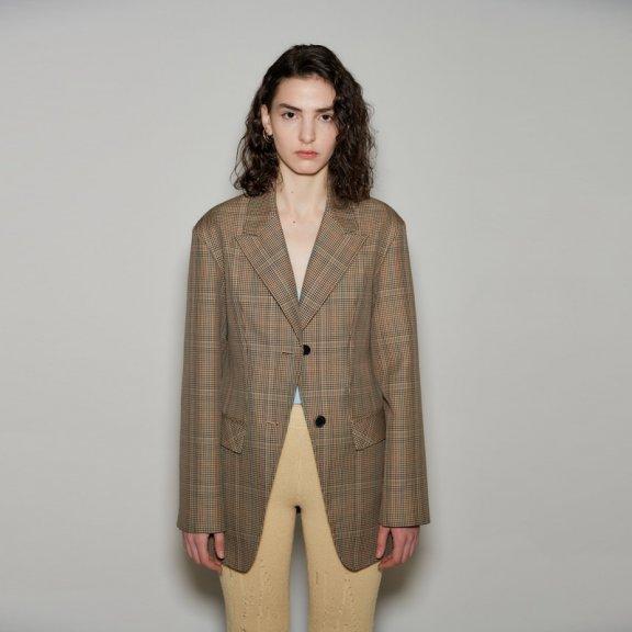 正品韩国设计师品牌andersson bell 2021春款格纹微收腰西装外套