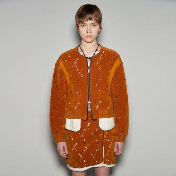 韩国设计师品牌2021春款andersson bell镂空鹿皮绒短款夹克外套