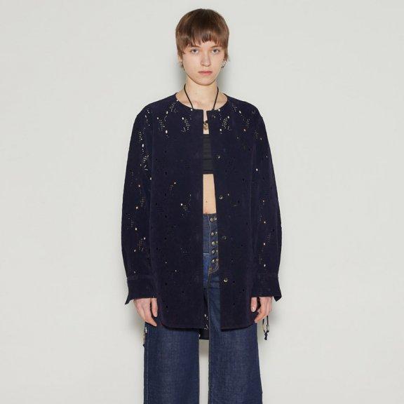 andersson bell 韩国设计师品牌2021春款镂空绒面无领长袖衬衫