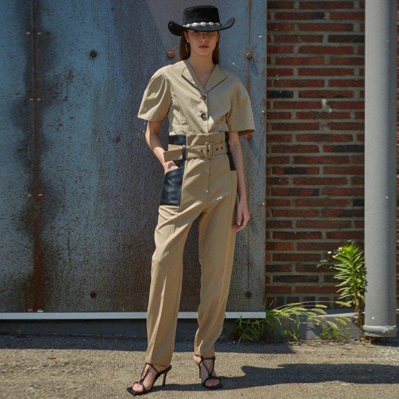 2021春款韩国设计师品牌andersson bell皮革腰带拼色休闲裤正品直邮