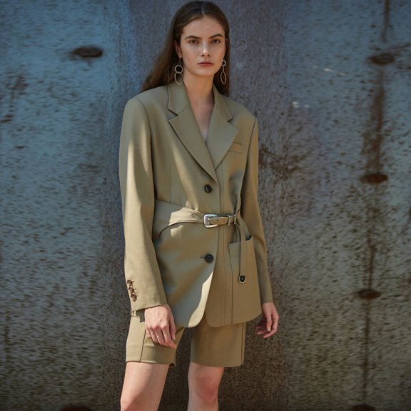 正品代购andersson bell 2021春夏韩国设计师品牌腰带款西装外套