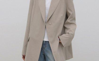 treemingbird韩国设计师品牌2021春夏隐藏一粒扣宽松休闲西装外套