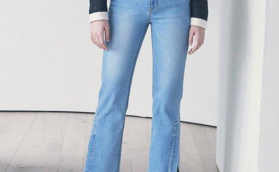正品代购kuho plus韩国设计师品牌2021春夏款侧开叉直筒牛仔裤