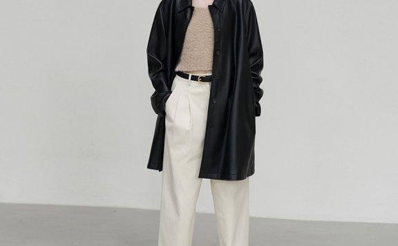 韩国设计师品牌LE 17 SEPTEMBRE 2021春款系扣PU中长款夹克外套