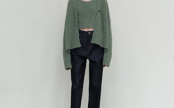 2021春款LE 17 SEPTEMBRE韩国设计师品牌休闲百搭纯棉直筒牛仔裤
