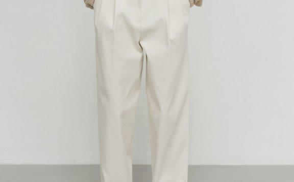 2021春款LE 17 SEPTEMBRE韩国设计师品牌纯棉腰带款休闲长裤