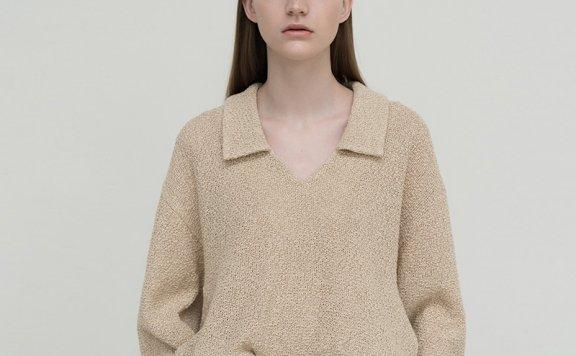 2021春款LE 17 SEPTEMBRE韩国设计师品牌气质长袖亚麻编织衬衫