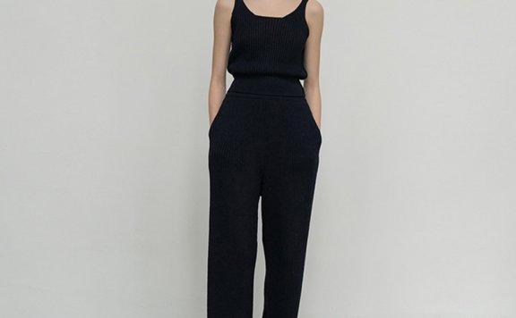 2021春款LE 17 SEPTEMBRE韩国设计师品牌气质百搭亚麻针织长裤
