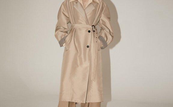 正品代购MUSEE 韩国设计师品牌 2021春夏款英式卷袖腰带长款风衣