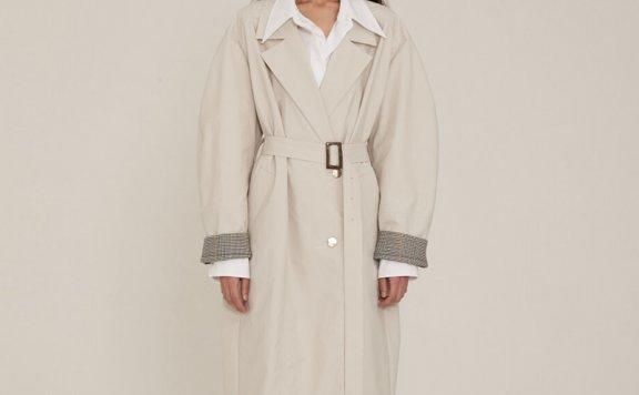 正品2021春夏款MUSEE韩国设计师品牌卷袖单排扣腰带长款风衣直邮