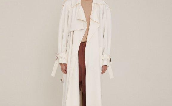 正品代购2021春夏款MUSEE韩国设计师品牌宽松翻领长款风衣外套