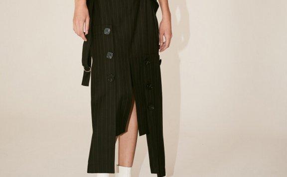 正品代购MUSEE韩国设计师品牌2021春夏款通勤条纹不规则半袖裙
