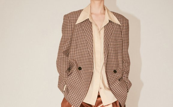 金薛熙同款MUSEE韩国设计师品牌2021春夏款垫肩宽松格纹西装直邮