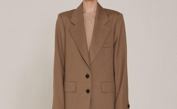 正品代购2021春夏MUSEE韩国设计师品牌宽松羊毛西装外套直邮