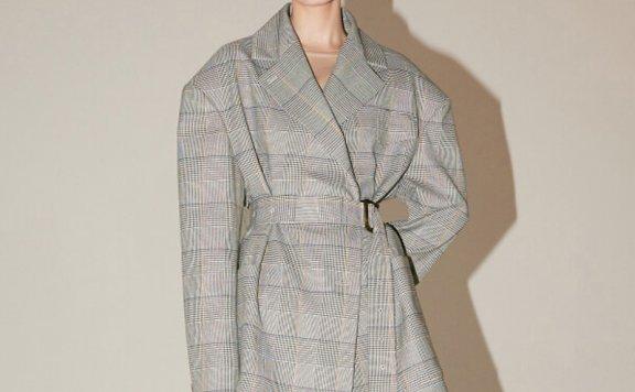 2021春夏MUSEE韩国设计师品牌OVERSIZE方格束带西装外套正品直邮