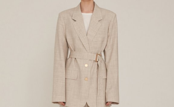2021春夏MUSEE韩国设计师品牌收腰绑带细羊毛格纹西装外套正品
