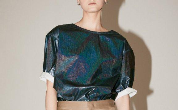 2021春夏MUSEE韩国设计师品牌垫肩亮片圆领五分袖女士衬衫直邮