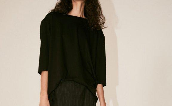 正品代购2021春夏款MUSEE韩国设计师品牌垫肩圆领七分袖T恤直邮