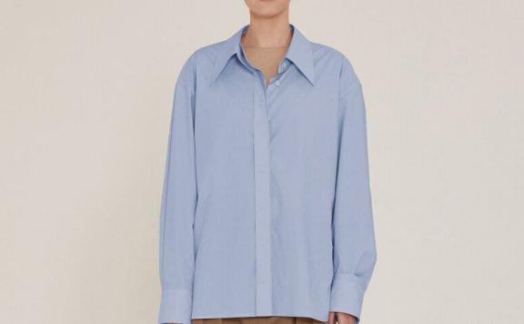 正品代购2021春夏款MUSEE韩国设计师品牌纯色后领镂空长袖衬衫