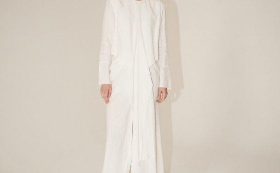 正品代购MUSEE 2021春夏款韩国设计师品牌纯色圆领褶皱连衣裙直邮