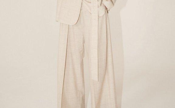 MUSEE 2021春夏款韩国设计师品牌正品宽褶细羊毛阔腿裤西装裤直邮