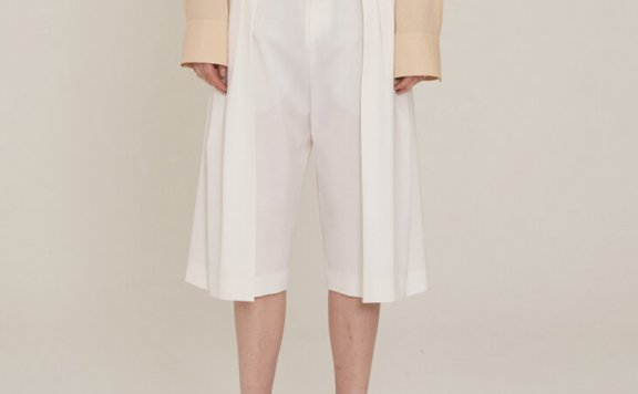 MUSEE 2021春夏款韩国设计师品牌羊毛纽扣七分休闲裤阔腿裤直邮