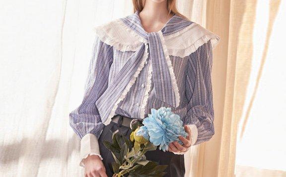 正品VITALSIGN韩国设计师品牌2021春夏优雅气质纯棉系带领衬衫