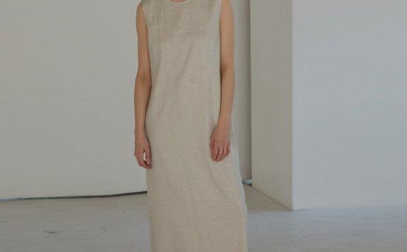 H8韩国设计师品牌2021春夏H型亚麻圆领无袖背心长裙连衣裙直邮