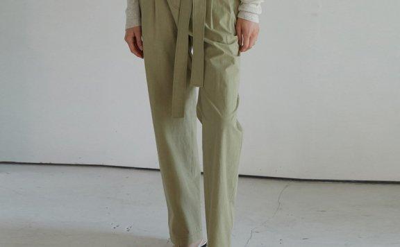 H8韩国设计师品牌2021春夏棉质日杂风褶皱绑带宽松休闲裤长裤正品