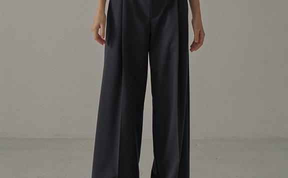 正品代购21春夏款facade pattern韩国设计师品牌羊毛宽松休闲长裤