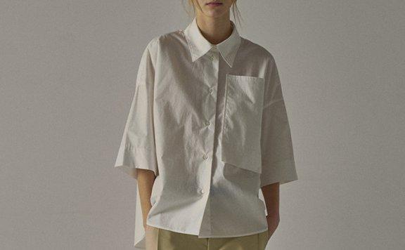 facade pattern 21春夏款韩国设计师品牌日杂风不规则中袖衬衫