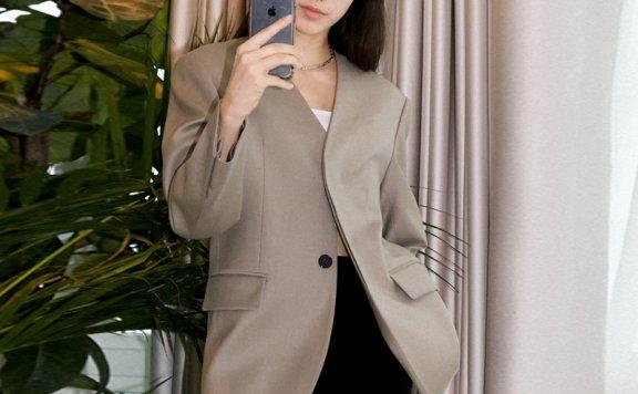 王鸥车静媛同款DUNST韩国设计师品牌2021春款无领羊毛西装外套