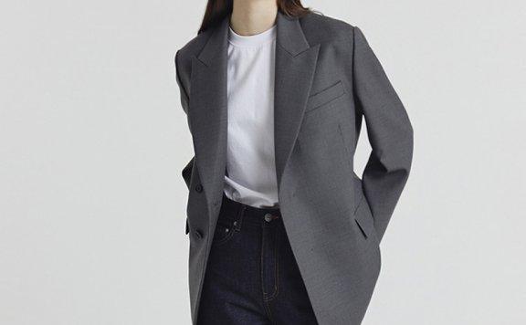韩国设计师品牌DUNST 2021春款宽松版经典羊毛西装外套正品直邮