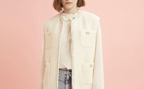 正品代购DEWL韩国设计师品牌2021春款休闲百搭小香风开衫外套直邮