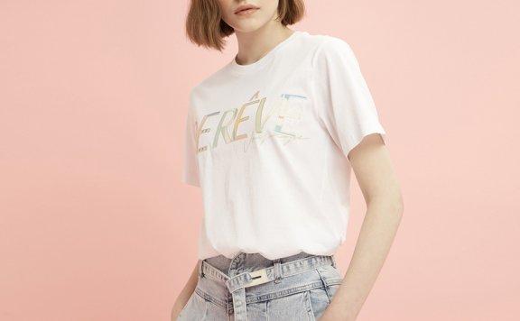正品代购DEWL韩国设计师品牌2021春夏款休闲百搭纯棉字母T恤直邮