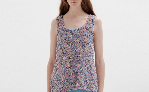 正品代购EENK韩国设计师品牌2021春夏款花色无袖针织背心上衣直邮