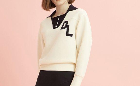 DEWL韩国设计师品牌2021春夏款休闲百搭刺绣字母logo针织衫直邮
