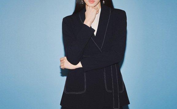韩国设计师品牌FRONTROW 2021春夏款束腰长袖短款外套正品直邮