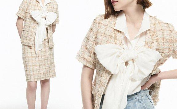正品代购韩国设计师品牌FRONTROW 2021春夏款V领粗花呢短袖外套