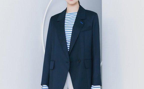 正品kuho plus韩国设计师品牌2021春款一粒扣暗条纹收腰西装外套