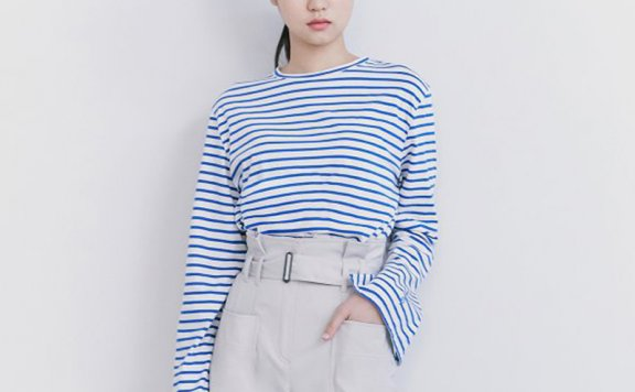 韩国设计师品牌kuho plus 2021春款百搭纯棉圆领条纹宽松休闲T恤
