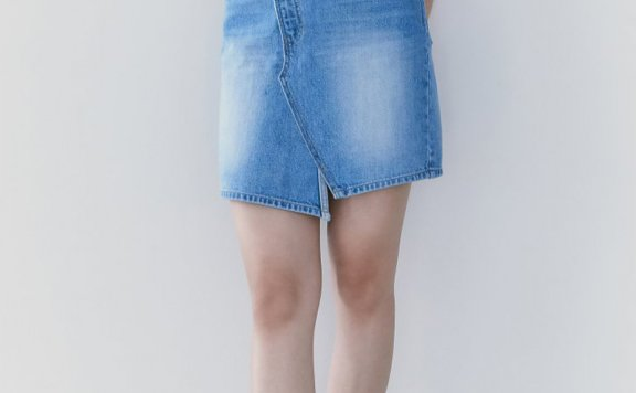 韩国设计师品牌kuho plus 2021春夏款纯棉休闲百搭牛仔半身裙短裙