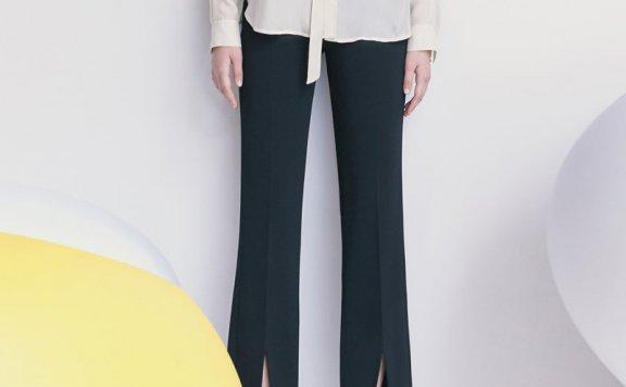 韩国设计师品牌kuho plus 2021春夏款前开叉显瘦阔腿裤休闲裤直邮