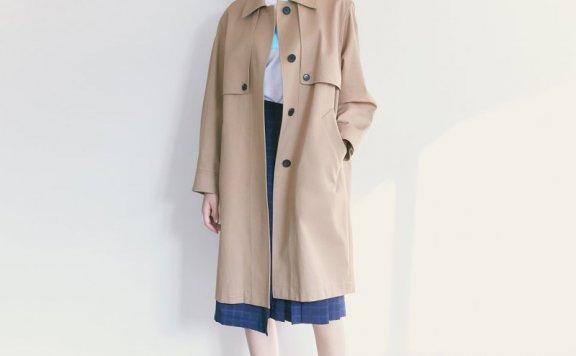 kuho plus韩国设计师品牌2021春夏款单排扣宽松百搭风衣外套直邮