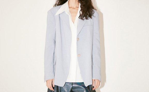 朴智贤同款MUSEE韩国设计师品牌2021春夏款简约法式亚麻西装外套
