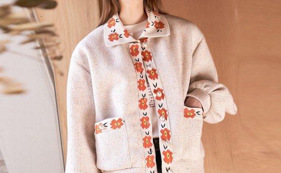 2021春款韩国设计师品牌VITALSIGN翻领印花宽松开衫针织外套直邮